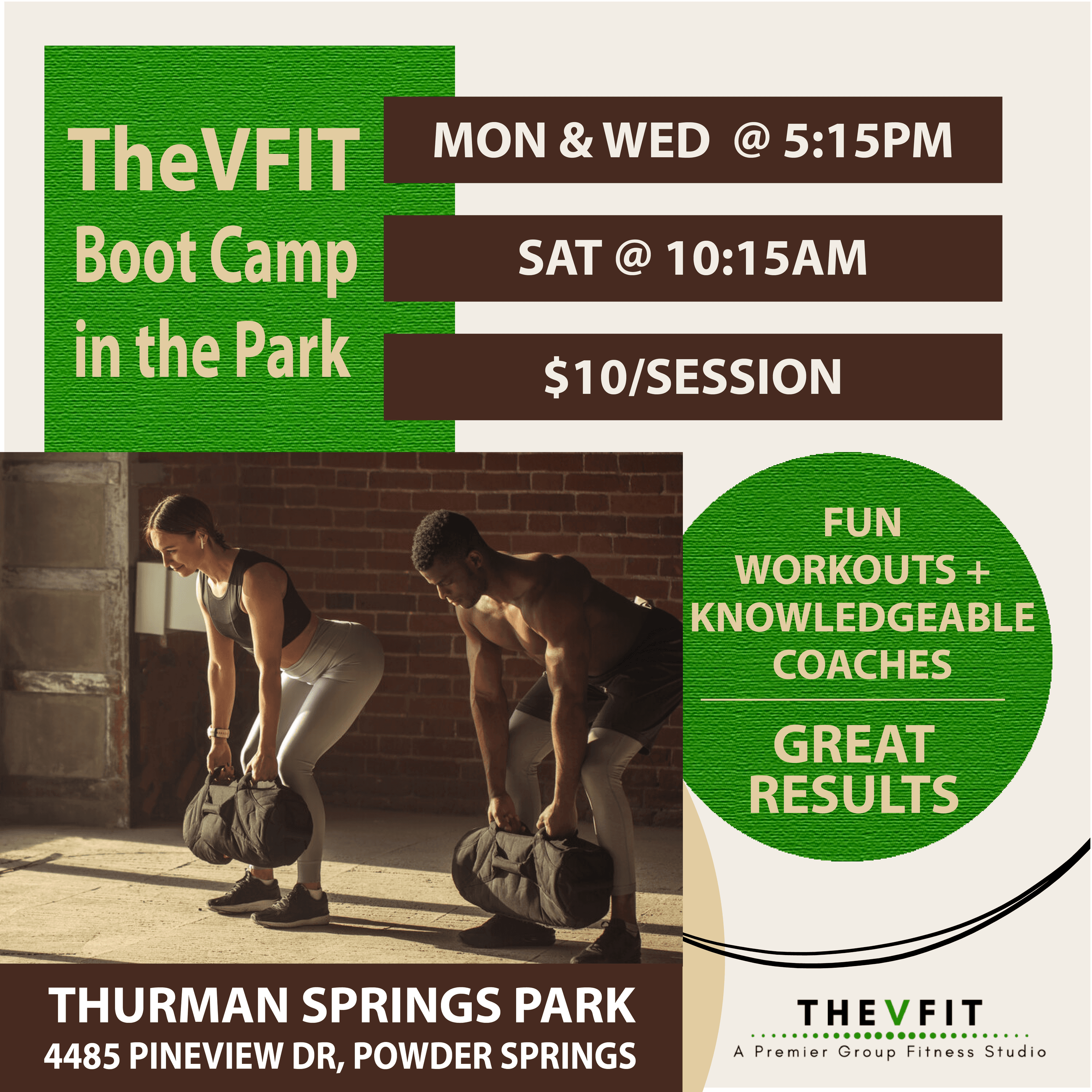TheVFIT poster graphic with times and location.