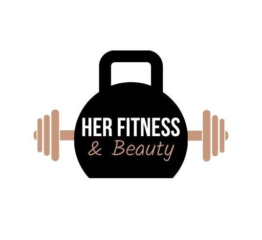 HER Fitness Logo. Kettlebell graphic with HER written on it.