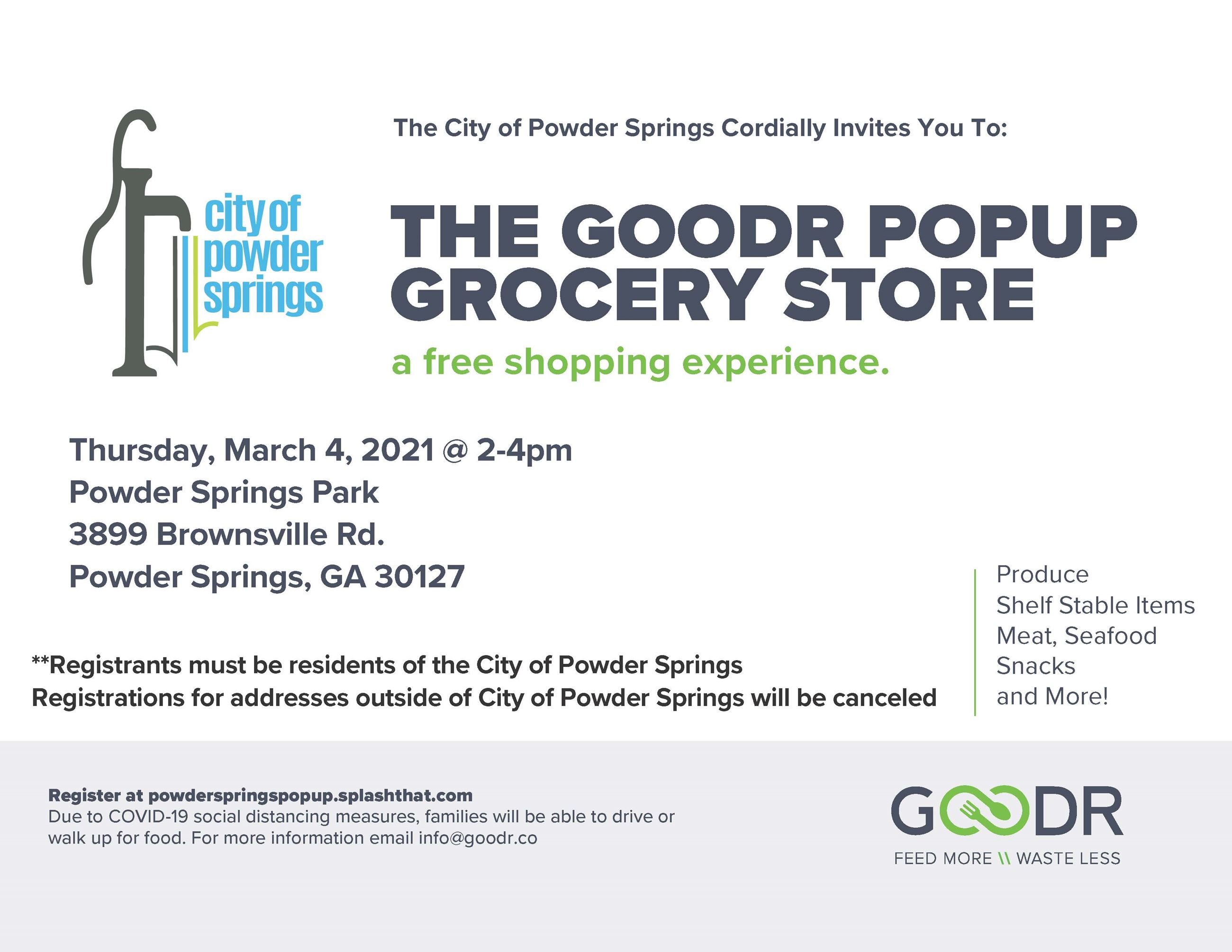 Flyer for Pop-up Grocery Store at Powder Springs Park on March 4, 2021