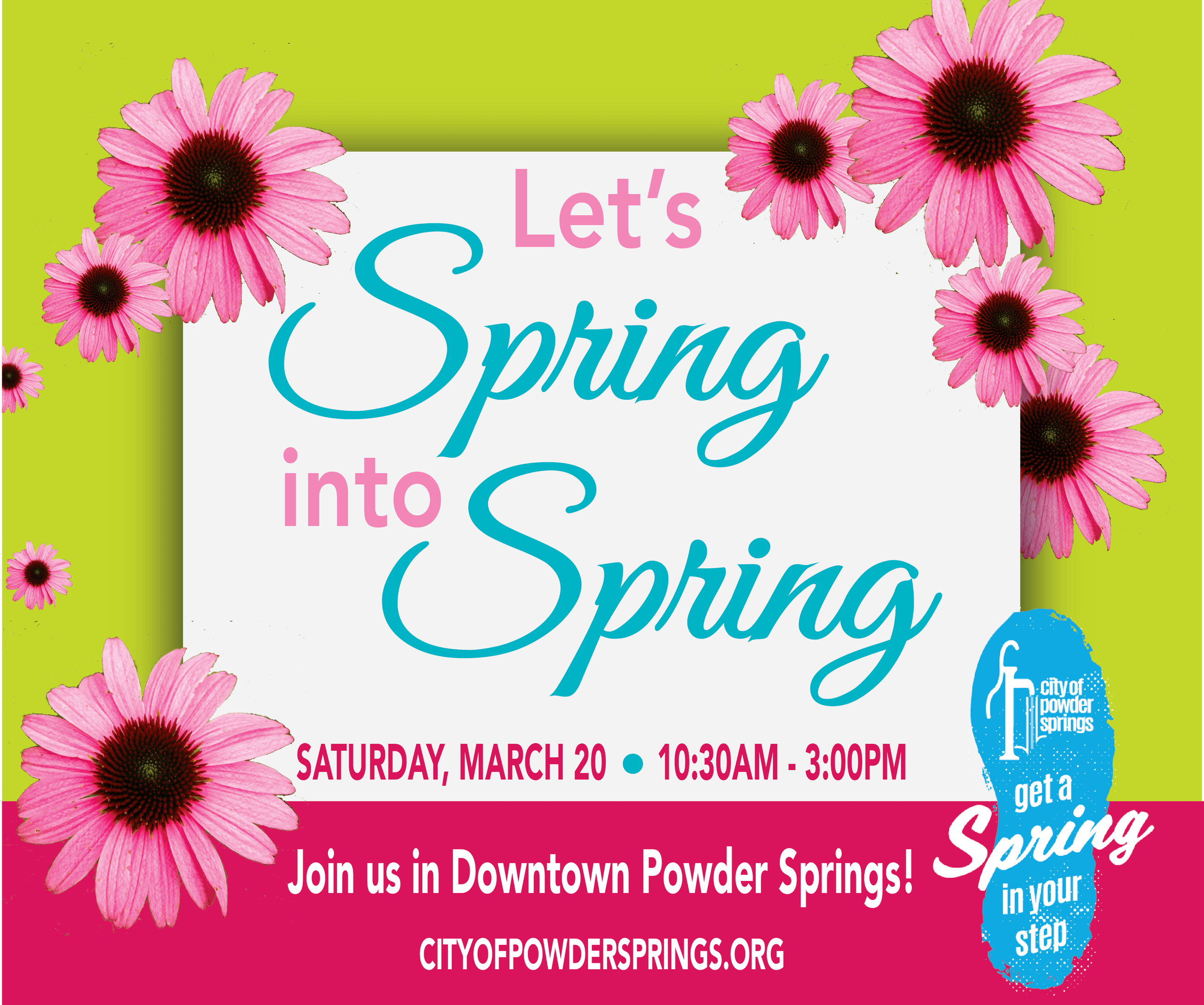 Let's Spring into Springs graphic with flowers.