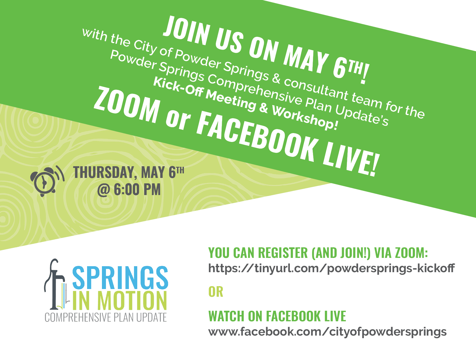 Announcement image for the City of Powder Springs' Comprehensive Plan Meeting set for May 6, 2021