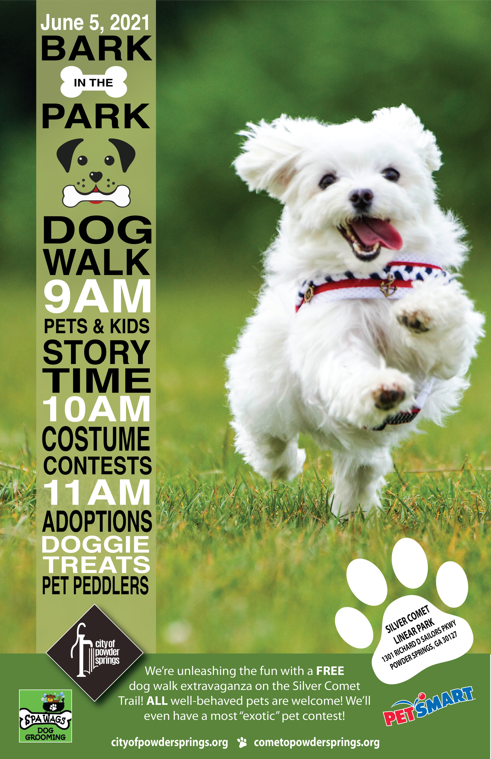 Poster with Small white dog running through grass and information about Bark in the Park event