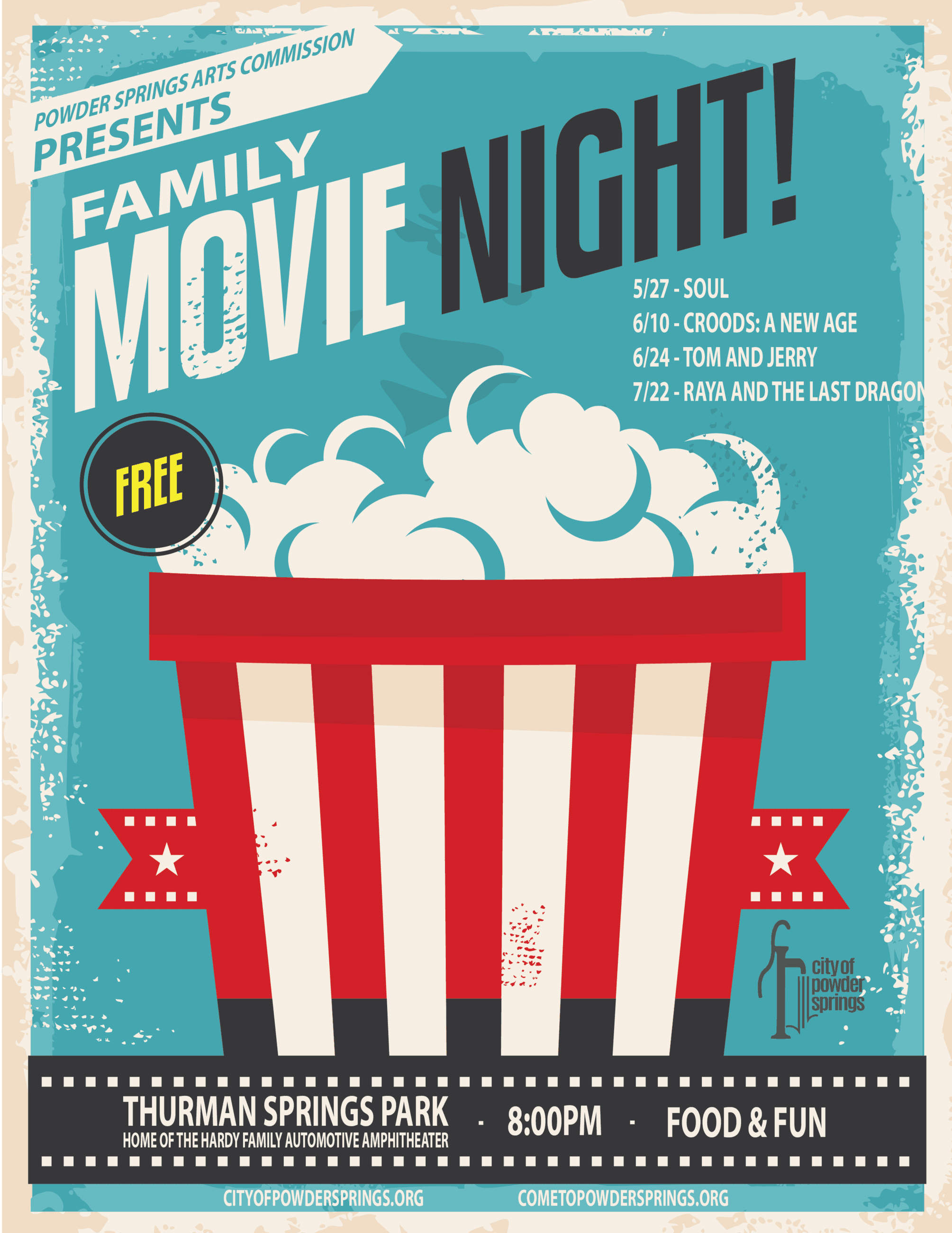 Family Movie Night Poster showing large bag of movie popcorn and dates of movies to come