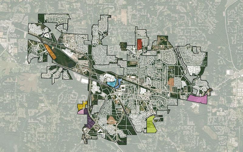 Map of the City of Powder Springs, circa May 2021, with several redevelopment sites highlighted